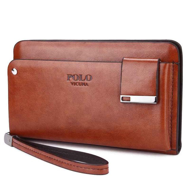 High Capacity Leather Men's Clutch Wallet