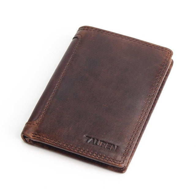 Cowhide Leather Men Short Wallet