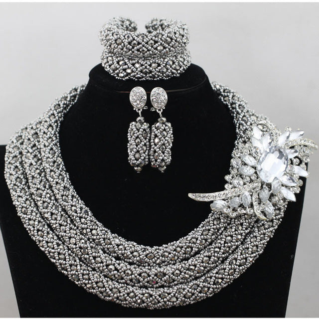 Chunky Gold Crystal Beads Women Necklace Bridal Fashion Jewelry  Wedding African Beads Jewelry Set 2017 Free Shipping ABF470