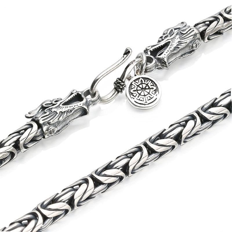 V.YA S925 Men's Chains 925 Sterling Silver Necklace Men Dragon Clasp Heavy Thick Chain Necklace Handmade Thai Silver Jewelry