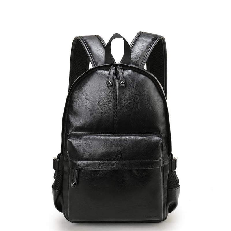 Preppy Style Leather School Backpack Bag