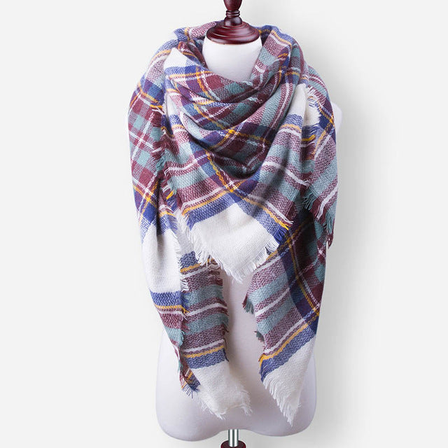 Female Plaid Cashmere Scarf