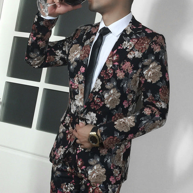 Men Casual Flower Suits Peaked Lapel Male Dress Suit
