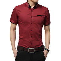 Short Sleeves Turn-down Collar Tuxedo Shirt