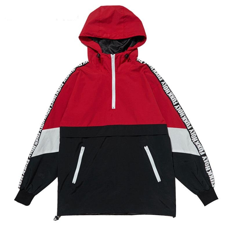 Block Pullover Hooded Jackets