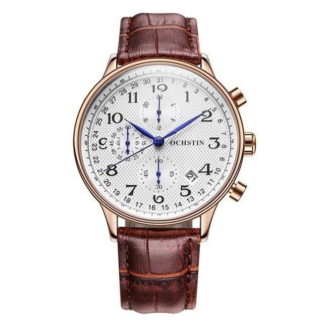 Leather Business Quartz Chronograph Watch