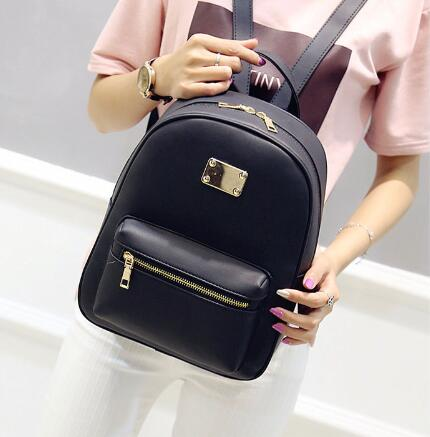 Small Black PU Leather Women's Backpacks