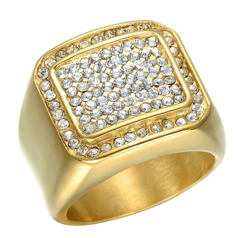 Micro Pave Rhinestone Iced Out Bling Square Ring
