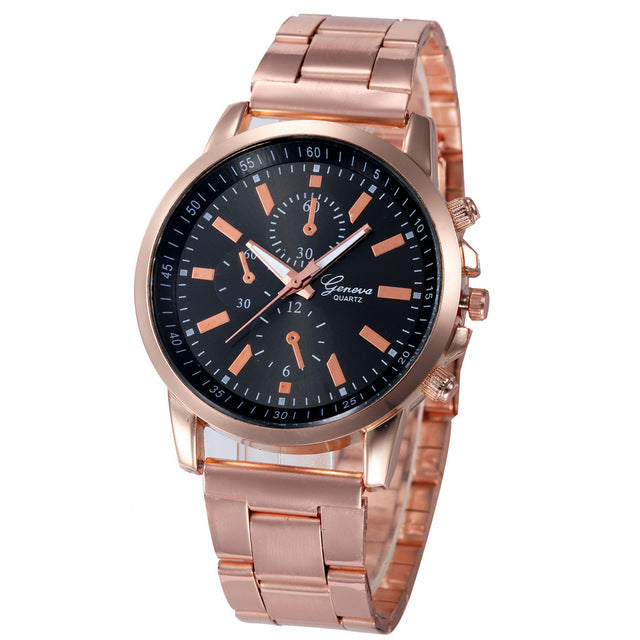 Gold Stainless Steel Band Analog Quartz Watch