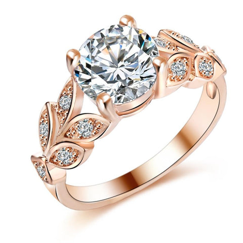 Leaf Engagement Gold Color Cubic Zircon Ring