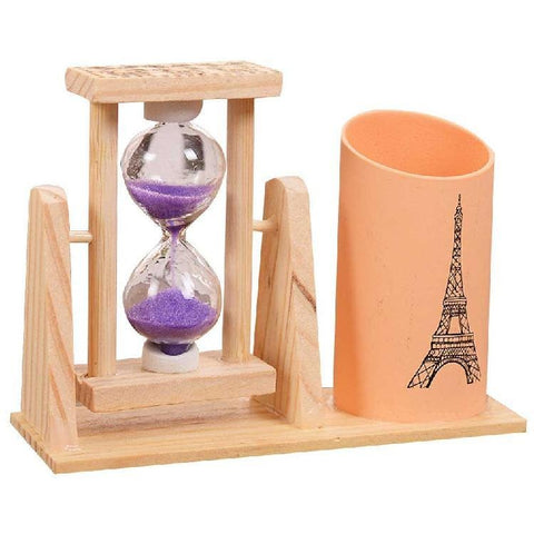 Creative Timer Wood Pen Holder Office Desk Accessories