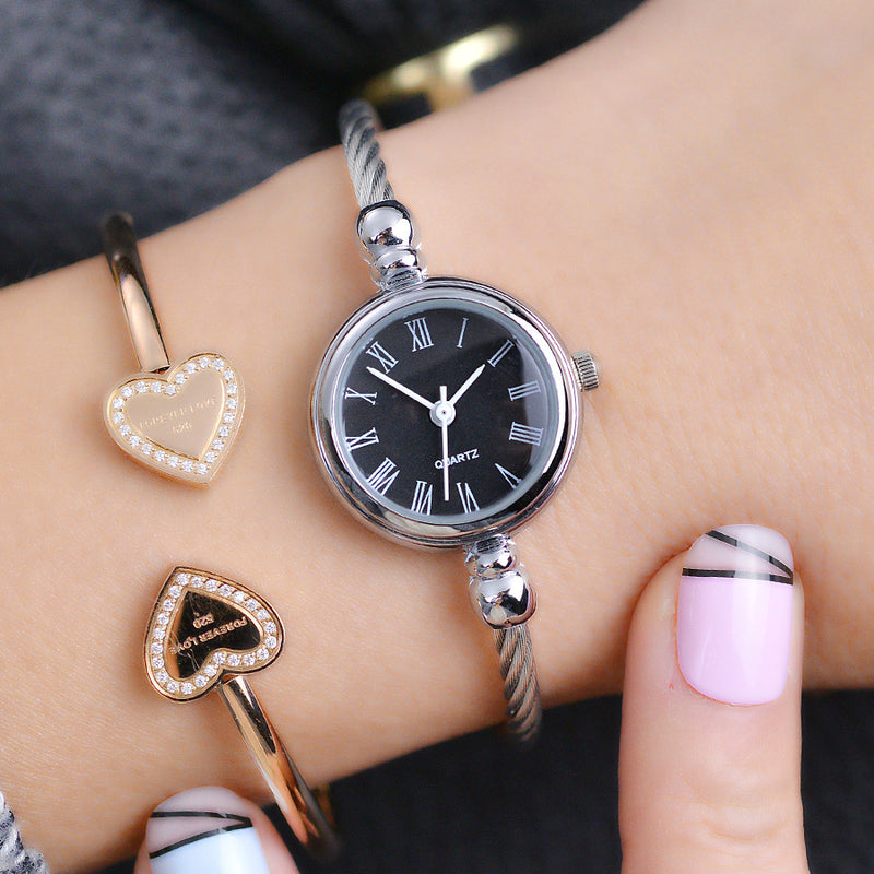 Simple silver women watch