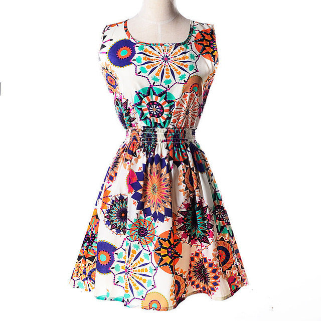 O-Neck Florals Print Pleated Party Clubwear Formal Dress
