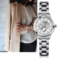 Luxury Silver Quartz Watch