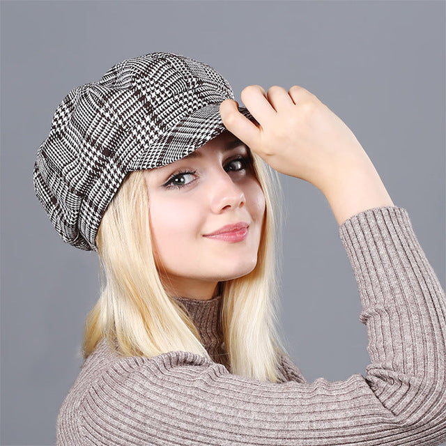 Plaid Octagonal Hats For Women