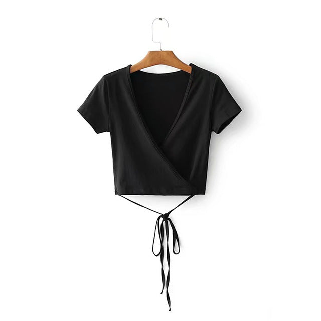 Women black short sleeve bustier crop top