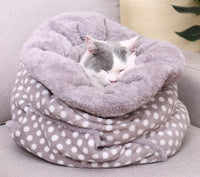 Pet Bed Super Soft Fleece Winter Warm Small Animal Sleeping Bag Dot Pattern Puppy Cushion Cat Nest Multi-functional Pet Product
