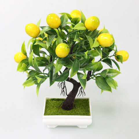 Flone Artificial Plastic Plants Yellow Foam Fruit Tree Simulation Plant Mini Potted For Home Party Office Coffee Table Decor