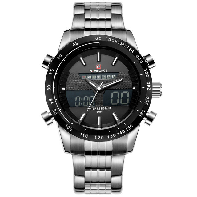 Full Steel Men's Quartz Hour Clock Analog LED Digital Watch