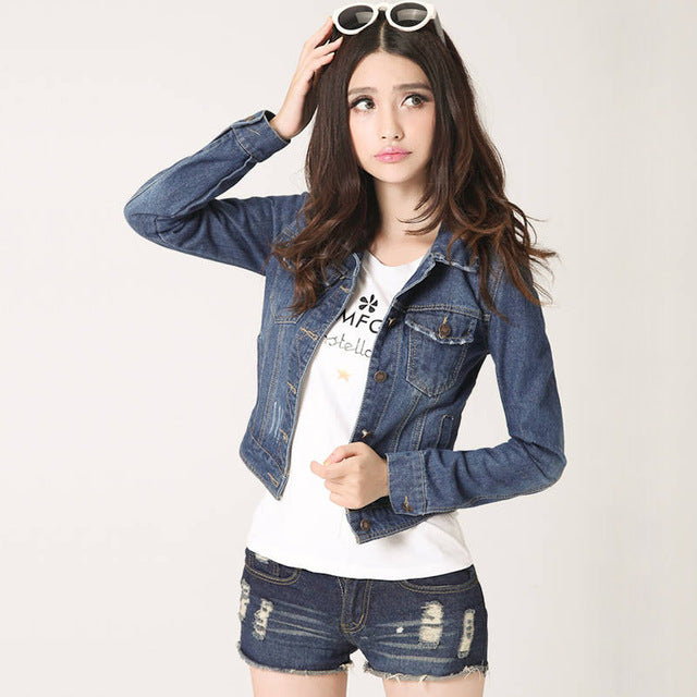 Denim Women slim cotton solid Jacket