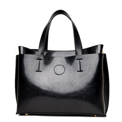 Black Pu Leather Shoulder Bag