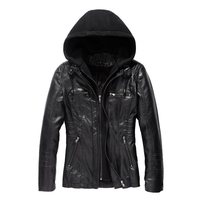 Women Faux Leather Coat Hoodie Jacket