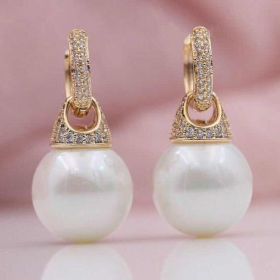 PATAYA New Micro-wax Inlay Natural Zircon 585 Rose Gold Shell Pearls Multifunction Dangle Earrings Women Wedding Party Jewelry