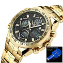 Golden Stainless Steel Military Wristwatch