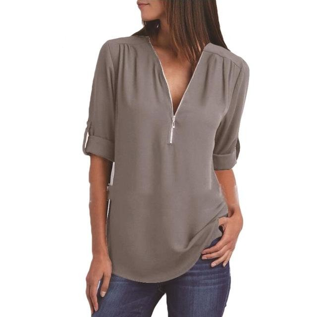 V Collar Zipper Large Size Long Sleeves Loose Shirt