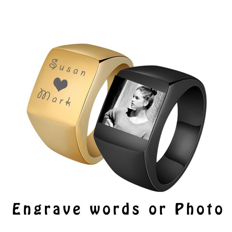 Stainless Steel Mens Signet Ring