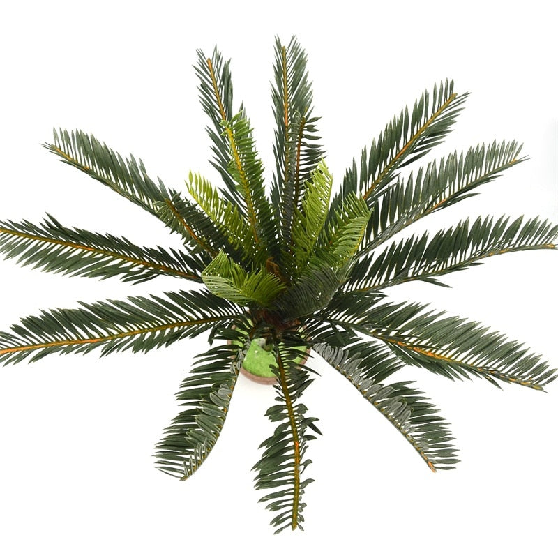 Artificial Palm Tree Green Leaf Plants Plastic Potted Bonsai Branches Leaves Garden For Home Wedding Table Ornaments Decoration
