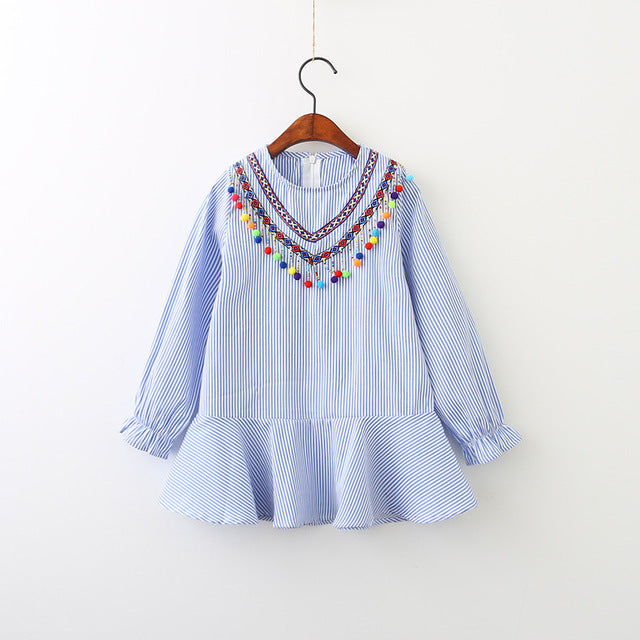 Cotton Long Sleeve Children Dress