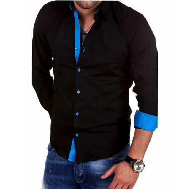 Casual Hit Color Slim Fit Black Man Dress Shirt
