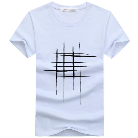 line cross Print cotton T Shirts