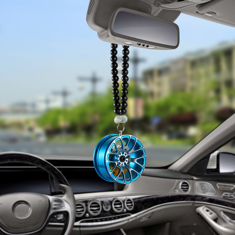Car Pendant Decoration Metal Wheel Hub Hanging Ornaments Auto Interior Rear View Mirror Car Hanging Accessories Automobiles Gift