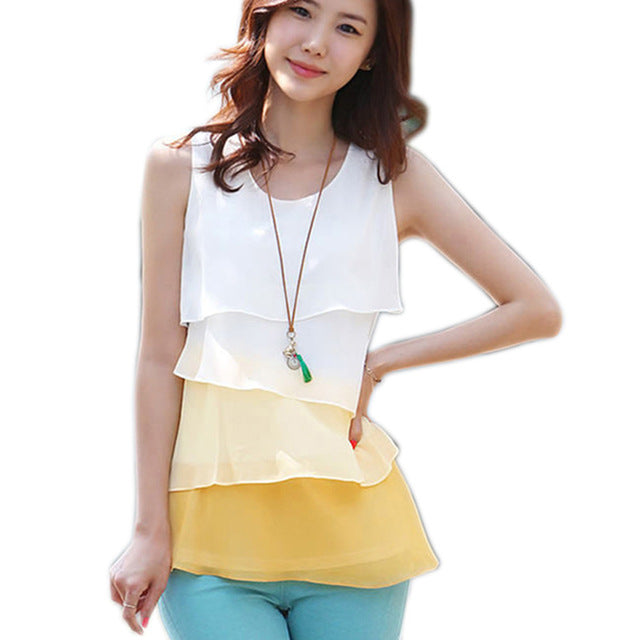 Casual Blouses Sleeveless Neck Flounce Tiered Chiffon Shirt
