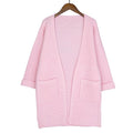 Women Loose Solid Color Pocket Design Sweater Jacket