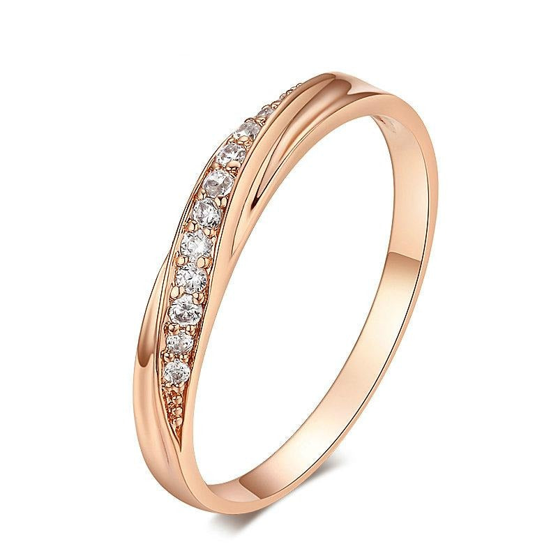 Cubic Zirconia Lovers Rose Gold Color Wedding Ring