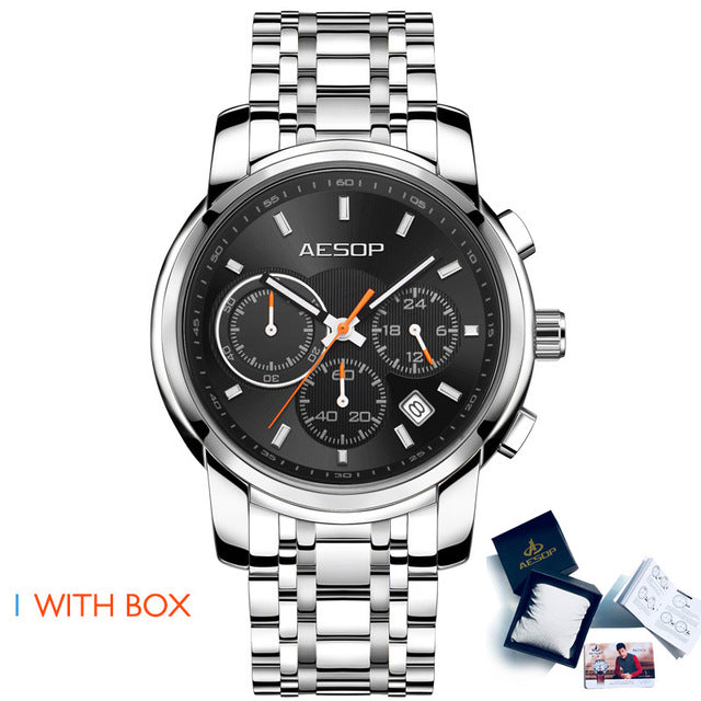 Stainless Steel Band Male Clock