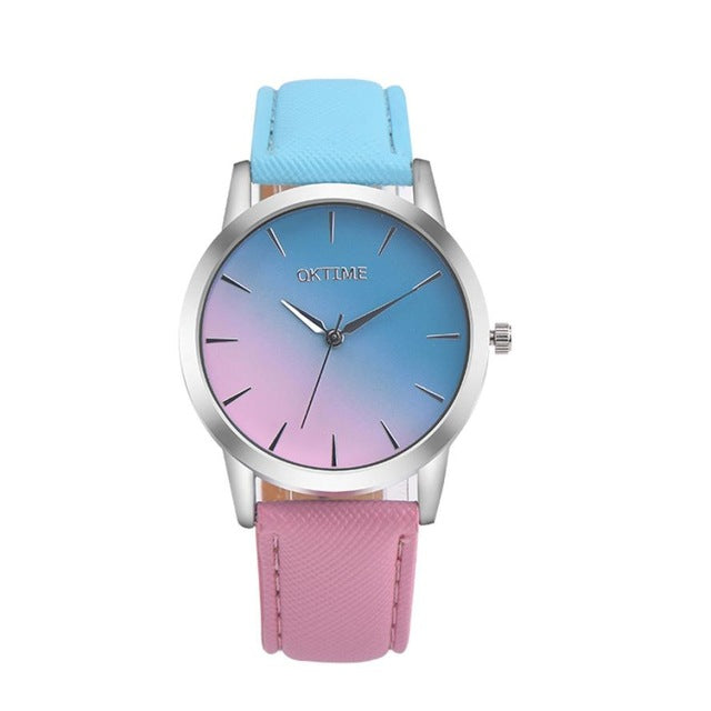 Rainbow Design Leather Band Analog Alloy Quartz Wrist Watch