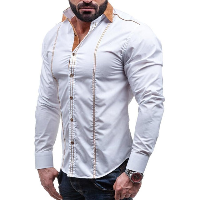Men Business Social White Dress Shirt
