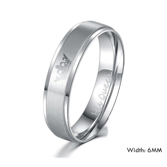 King and His Queen Stainless Steel Wedding Rings