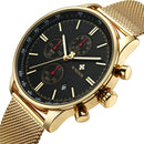 Gold Stainless Steel Sport Men Quartz Wrist Watch