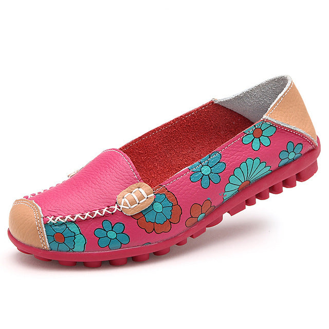 Flower Print Women Genuine Leather Shoes