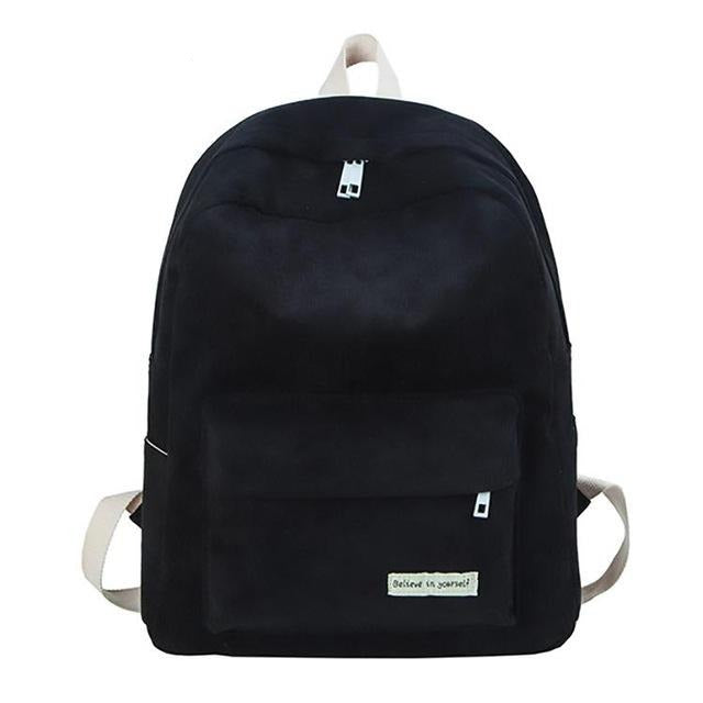 Retro Velvet School Backpack