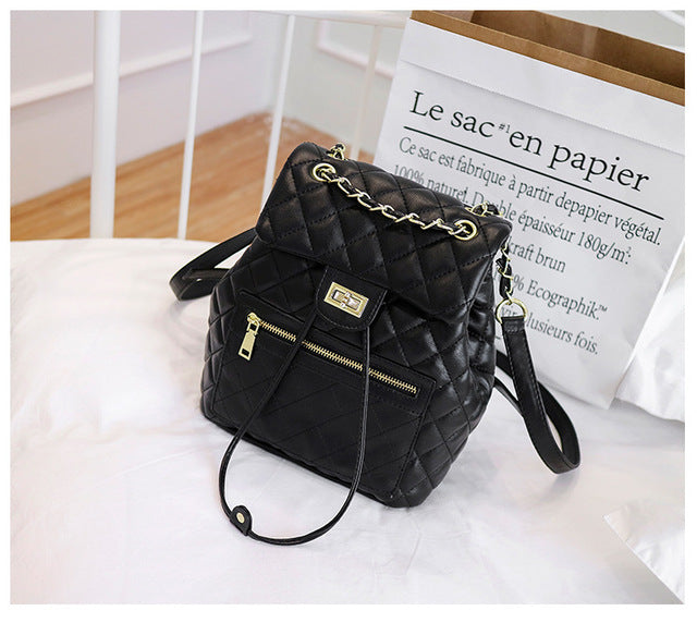 Pu Leather Chain Drawstring Chains Backpack