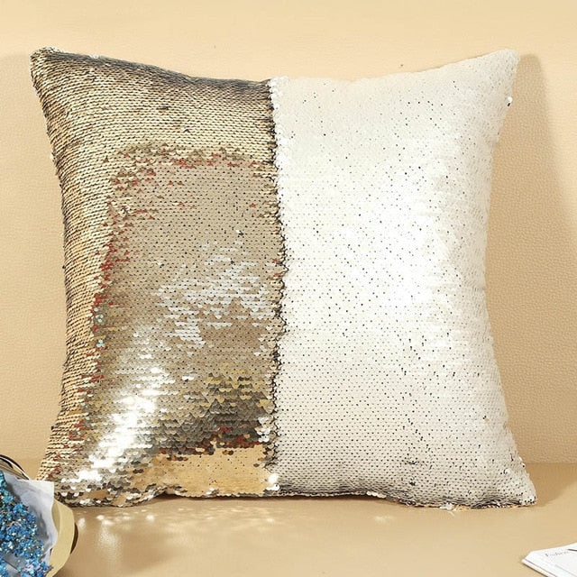Meijuner DIY Mermaid Sequin Cushion Cover Magical Throw Pillowcase 40X40cm Color Changing Reversible Pillow Case For Home Decor