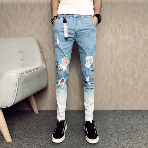 Slim Fit Casual Ripped Jeans