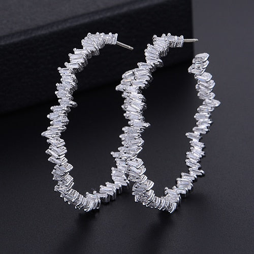 GODKI 42mm Luxury Iregular Geometry Circle Trendy Cubic Zirconia Women Wedding Party Earring High Jewelry Addiction