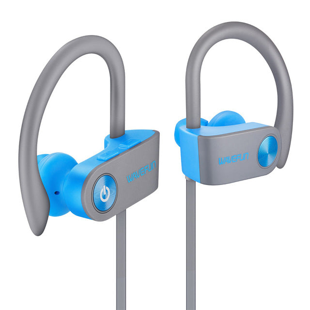 Wavefun bluetooth headphones IPX7 waterproof wireless headphone sports bass bluetooth earphone with mic for phone iPhone xiaomi